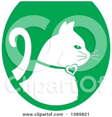 Clipart White Profiled Cat Over A Green Oval Logo - Royalty Free Vector Illustration by Pams Clipart