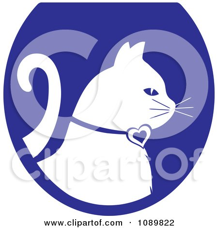 Clipart White Profiled Cat Over A Blue Oval Logo - Royalty Free Vector Illustration by Pams Clipart