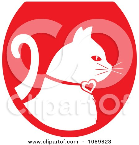 Clipart White Profiled Cat Over A Red Oval Logo - Royalty Free Vector Illustration by Pams Clipart