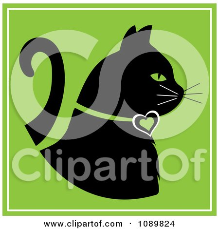 Clipart Black Profiled Cat With A Heart Collar On Green - Royalty Free Vector Illustration by Pams Clipart