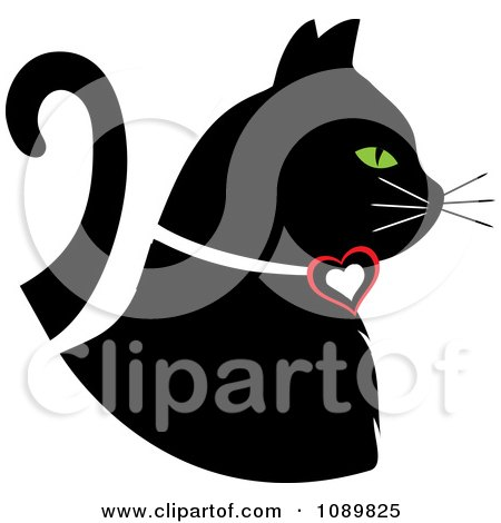 Clipart Black Profiled Cat With Green Eyes And A Heart Collar - Royalty Free Vector Illustration by Pams Clipart