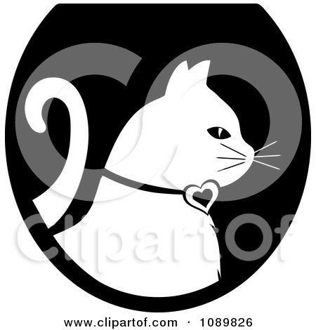Clipart White Profiled Cat Over A Black Oval Logo - Royalty Free Vector Illustration by Pams Clipart