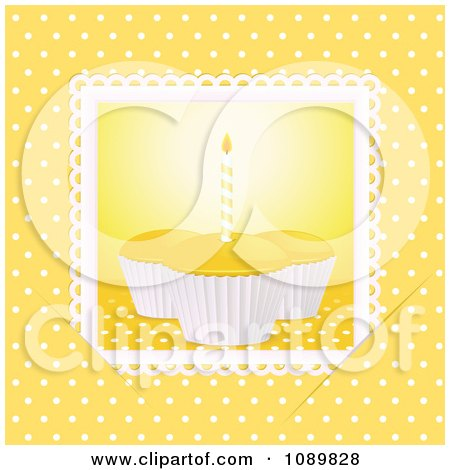 Clipart 3d Yellow Birthday Cupcakes With A Candle Over Yellow With Polka Dots - Royalty Free Vector Illustration by elaineitalia