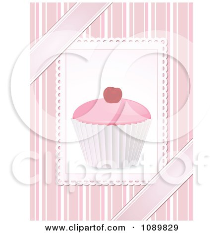 Clipart 3d Pink Cupcake With A Cherry Over Pink Stripes And Ribbons - Royalty Free Vector Illustration by elaineitalia