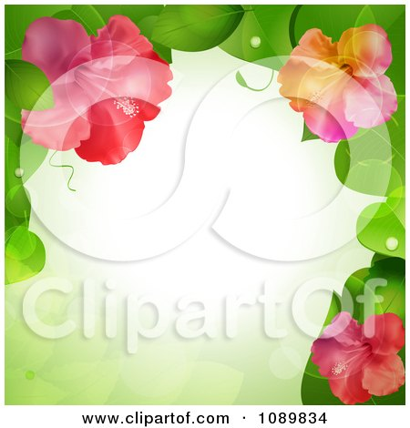 Clipart 3d Hibiscus Flower And Leaves Border Over Green With Flares - Royalty Free Vector Illustration by elaineitalia