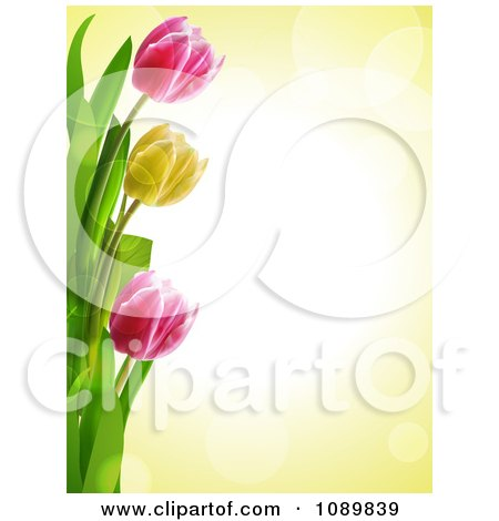 Clipart 3d Tulip Flower Border Over Yellow With Flares - Royalty Free Vector Illustration by elaineitalia