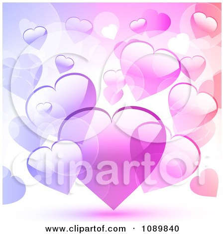 Clipart Background Of Pink And Purple Hearts - Royalty Free Vector Illustration by elaineitalia