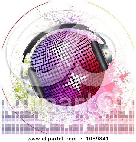 Clipart 3d Gradient Disco Ball With Headphones Sound Signals Grunge And Equalizer Bars Royalty Free Vector Illustration