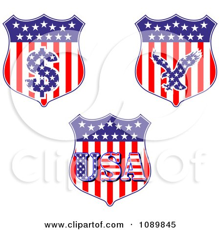 Clipart American Flag Shields With Dollar Symbol Eagle And USA - Royalty Free Vector Illustration by Vector Tradition SM