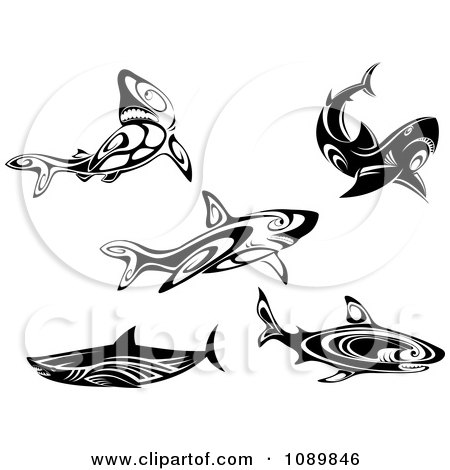 Clipart Black And White Tribal Sharks - Royalty Free Vector Illustration by Vector Tradition SM