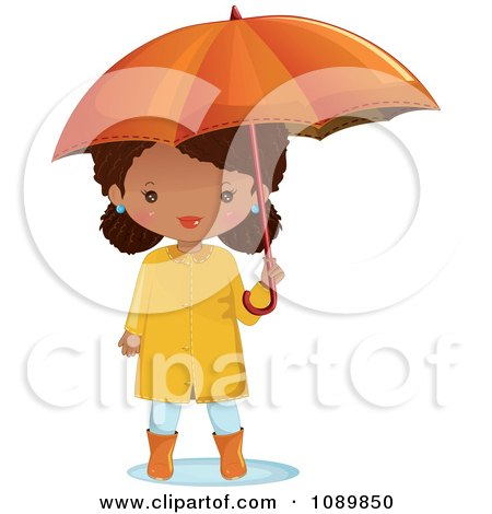 Clipart Black Girl With An Umbrella And Rain Gear - Royalty Free Vector Illustration by Melisende Vector