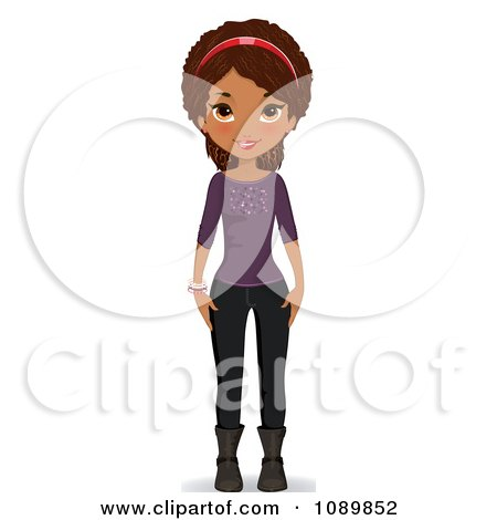 Black Teenage Girl In A Purple Sweater Boots And Jeans Posters, Art Prints