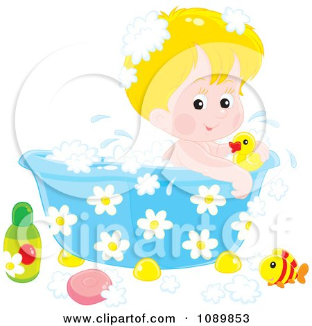 Clipart Cute Blond Boy Bathing In A Tub With Toys - Royalty Free Vector Illustration by Alex Bannykh