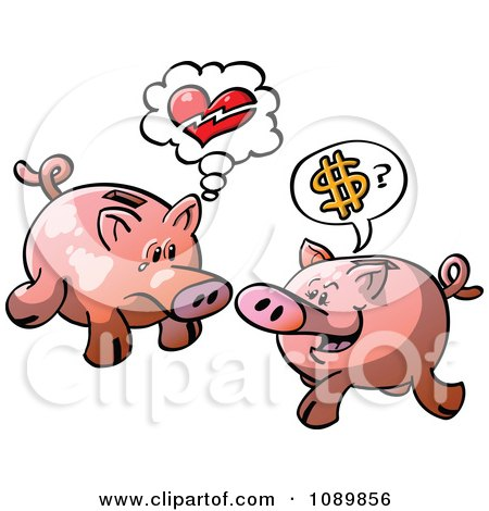 Clipart Broken Hearted And Money Seeking Piggy Banks - Royalty Free Vector Illustration by Zooco