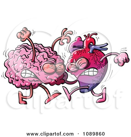 Clipart Human Heart Fighting With A Brain - Royalty Free Vector Illustration by Zooco