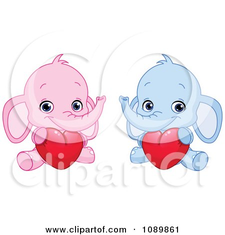 Clipart Pink And Blue Baby Elephants Holding Valentine Hearts - Royalty Free Vector Illustration by yayayoyo