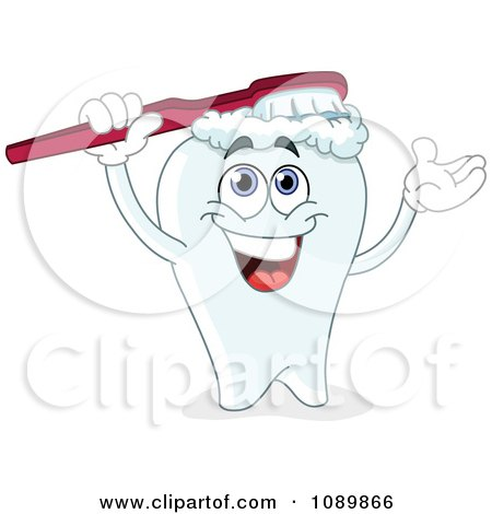 Clipart Dental Tooth Brushing His Head - Royalty Free Vector Illustration by yayayoyo