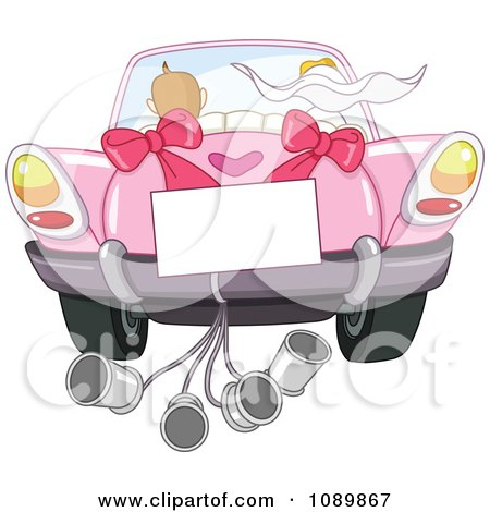 Just Married Bride And Groom Driving Away In A Pink Car With A Sign And Cans Posters, Art Prints