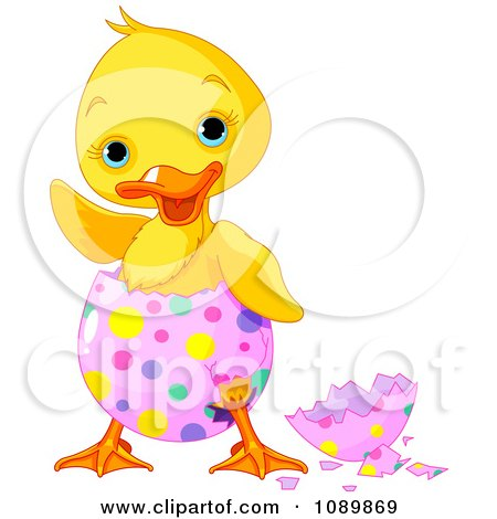 Clipart Cute Waving Chick Hatching From A Pink Easter Egg With Colorful Dots - Royalty Free Vector Illustration by Pushkin