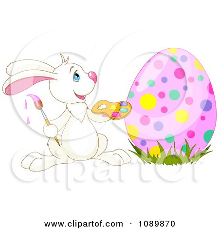 Clipart Happy Easter Rabbit Painting An Egg With Colorful Dots - Royalty Free Vector Illustration by Pushkin