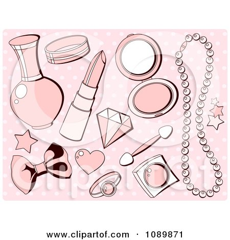 Clipart Pink Girly Makeup And Accesories Over Polka Dots - Royalty Free Vector Illustration by Pushkin