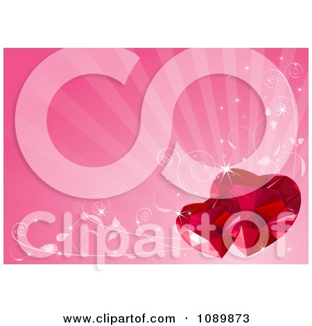 Clipart Two Ruby Valentine Hearts Over Pink Rays With Vines - Royalty Free Vector Illustration by Pushkin