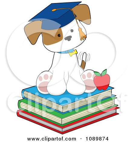 Clipart Student Puppy Sitting On Books And Wearing A Graduation Cap - Royalty Free Vector Illustration by Maria Bell