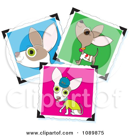 Clipart Three Cute Chihuahua Pictures With Corner Holders - Royalty Free Vector Illustration by Maria Bell