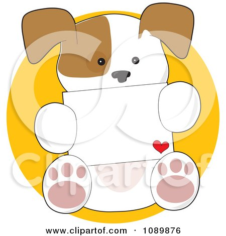 Clipart Sweet Puppy Holding A Love Letter - Royalty Free Vector Illustration by Maria Bell