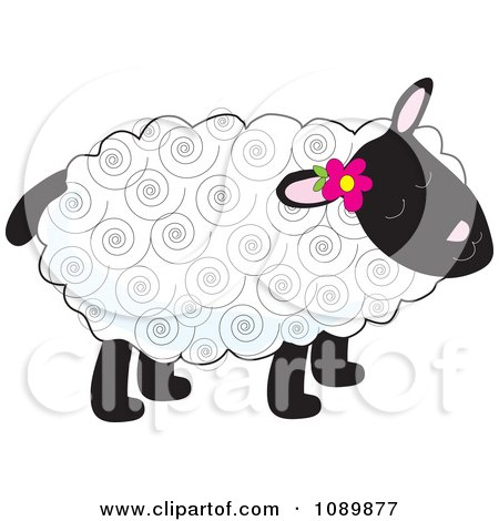 Clipart Curly Haired Lamb With A Flower Tucked Behind An Ear - Royalty Free Vector Illustration by Maria Bell