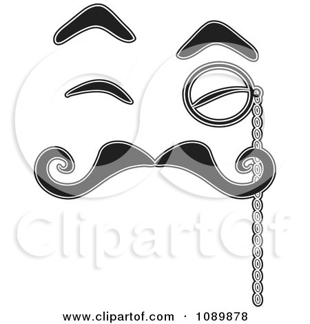 Clipart Black And White Face With Eyebrow Eyes Mustache And Monocle - Royalty Free Vector Illustration by Maria Bell