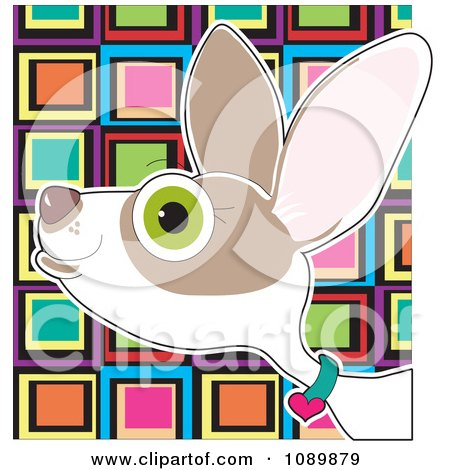 Profiled Chihuahua Portrait Over Colorful Squares Posters, Art Prints