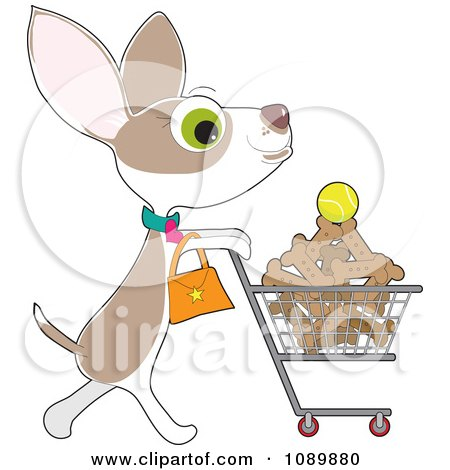 Clipart Chihuahua Grocery Shopping For Biscuits - Royalty Free Vector Illustration by Maria Bell