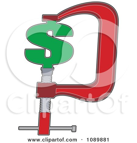 Clipart Dollar Symbol Being Squeezed In A Vice Clamp - Royalty Free Vector Illustration by Maria Bell
