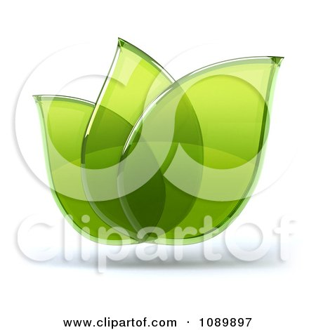 Clipart 3d Transparent Glass Green Leaves 2 - Royalty Free CGI Illustration by Julos