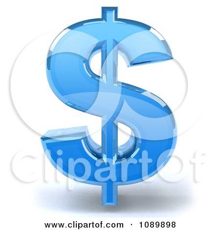 Clipart 3d Blue Glass Dollar Symbol Icon - Royalty Free CGI Illustration by Julos