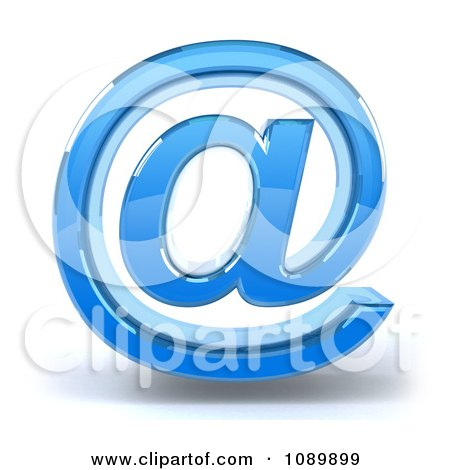 Clipart 3d Blue Glass Arobase Email Symbol Icon - Royalty Free CGI Illustration by Julos