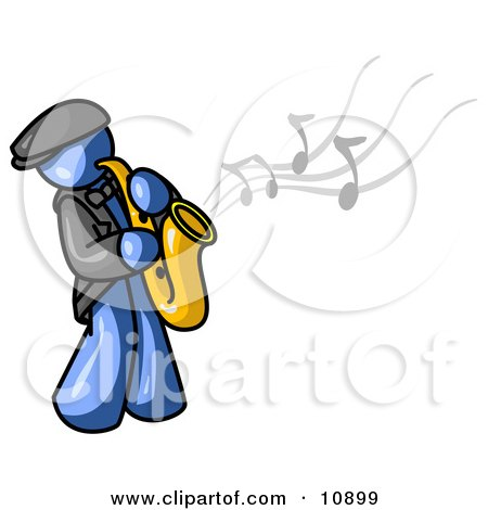 Musical Blue Man Playing Jazz With a Saxophone Posters, Art Prints