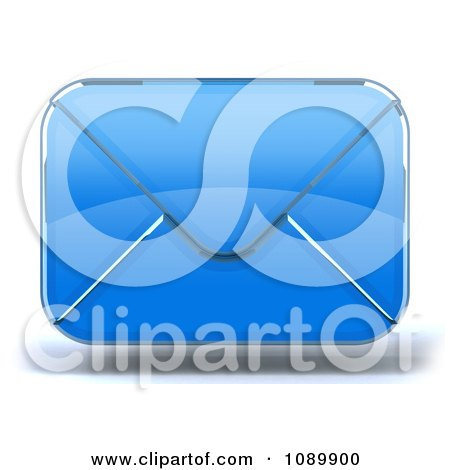 Clipart 3d Blue Glass Envelope Symbol Icon 1 - Royalty Free CGI Illustration by Julos