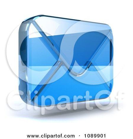 Clipart 3d Blue Glass Envelope Symbol Icon 2 - Royalty Free CGI Illustration by Julos