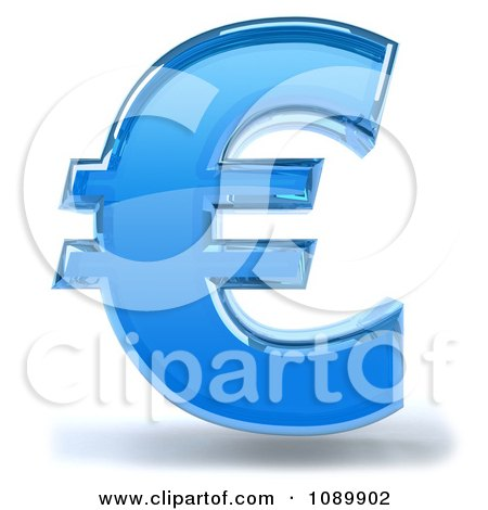 Clipart 3d Blue Glass Euro Symbol Icon - Royalty Free CGI Illustration by Julos