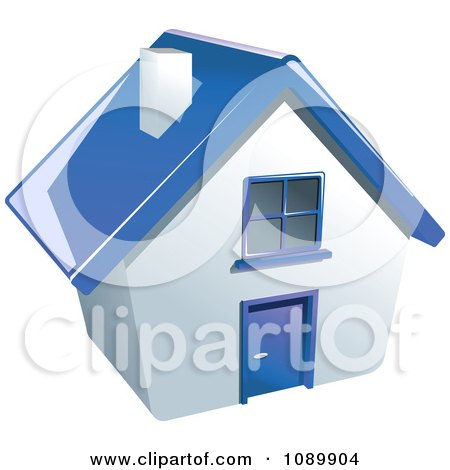 Clipart 3d White House With A Blue Roof Royalty Free