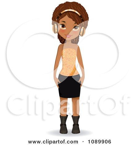 Clipart Stylish Black Woman Wearing Gold Headphones - Royalty Free Vector Illustration by Melisende Vector