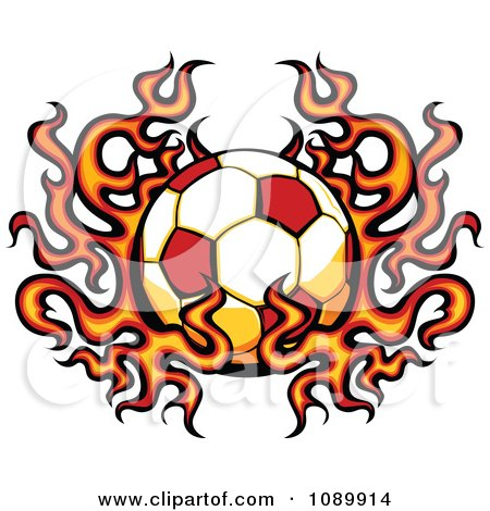 Clipart Fiery Soccer Ball - Royalty Free Vector Illustration by Chromaco