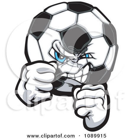 Clipart Tough Soccer Ball With Fists - Royalty Free Vector Illustration by Chromaco