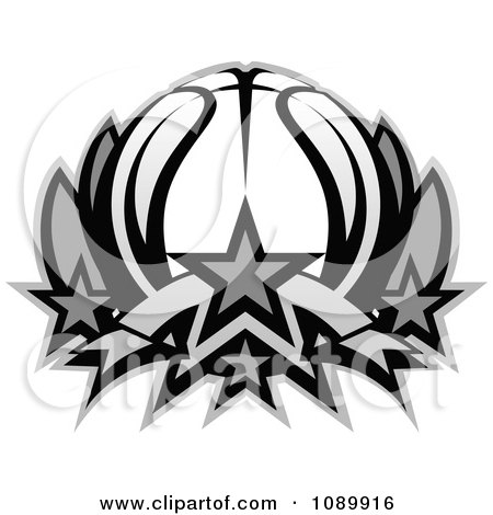 Clipart Grayscale Basketball Lotus - Royalty Free Vector Illustration by Chromaco