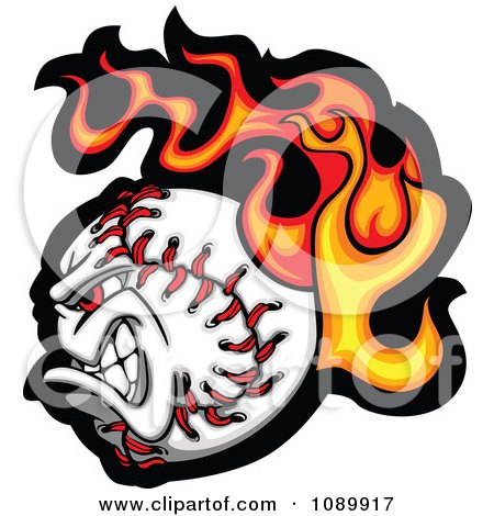 Clipart Tough Flaming Baseball Character - Royalty Free Vector Illustration by Chromaco