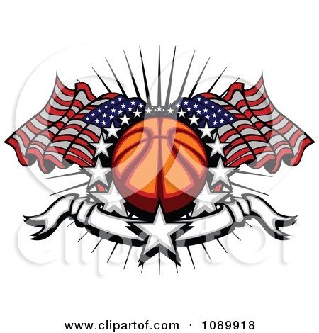 Clipart Basketball With American Flags Stars And A Banner - Royalty Free Vector Illustration by Chromaco