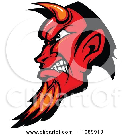 Clipart Red Devil Profile With Horns And A Goatee - Royalty Free Vector Illustration by Chromaco