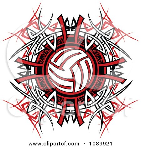 Clipart Volleyball Over Tribal Designs - Royalty Free Vector Illustration by Chromaco